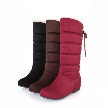 Winter Warm Boots New Women Nubuck Leather Snow Boots Casual Winter Shoes Chrismas Waterproof Thick Warm Fur Inside Mid-Calf Boo