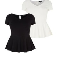 Inspire 2 Pack Black and Cream V Neck Peplum Tops