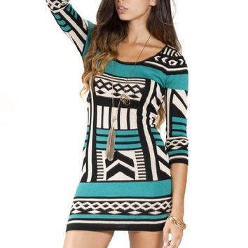 Flying Tomato Women's Aztec Print Bodycon Sweater Dress