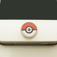 1PC Glass Epoxy Red Poke Ball Alloy Cell Phone Home Button Sticker Charm for iPhone 6,4s,4g,5,5c Kids Gift