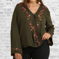 Embroidered Surplice Wrap Top - Olive