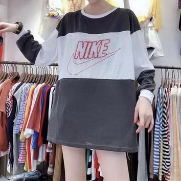 Nike Women Fashion Casual Stripe Multicolor Stitching Letter Pattern Print Long Sleeve Round Neck Cotton Sweater