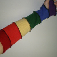 100 percent CASHMERE fingerless gloves armwarmers 17 inch rainbow