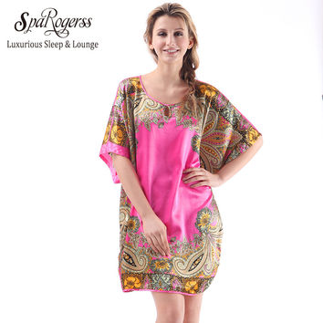 SpaRogerss Women Sleep Lounge 2017 Summer Plus Size Ladies Pyjamas Faux Silk SleepShirts ]Female Nightgowns Dressing Gown
