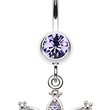 Shimmering Regal Crown Belly Button Ring