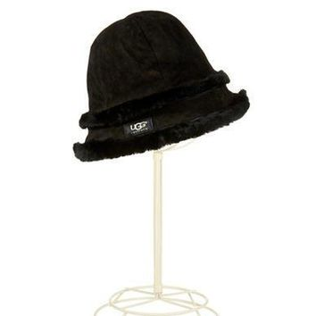 Ugg Australia Ladies Shearling and Leather Bucket Hat