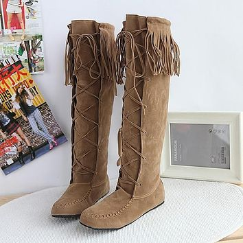 Tassels Lace UP Round Toe Suede Flat Knee-length Long Boots