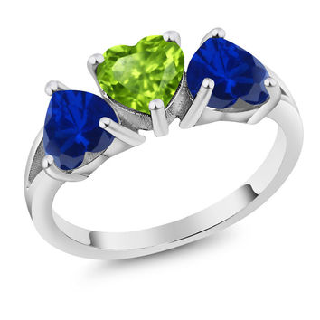 2.43 Ct Heart Shape Green Peridot Blue Simulated Sapphire 925 Silver Ring