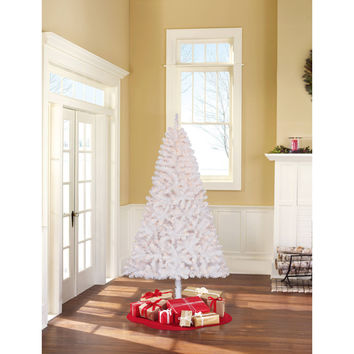 Holiday Time Pre-Lit 6.5' Madison Pine White Artificial Christmas Tree, Clear Lights