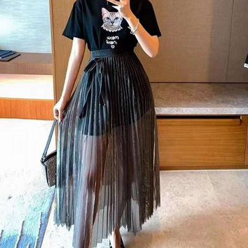 Woman's Leisure  Fashion Letter Cat Beading  Printing  Short Sleeve High Waist Pleated Bow-Knot Long Skirt Two-Piece Set Casual Wear