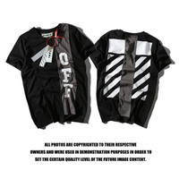 Off White Patchwork Short Sleeve Alphabet T-shirts [10262481875]