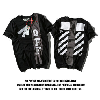 Off White Patchwork Short Sleeve Alphabet T-shirts [10182826375]