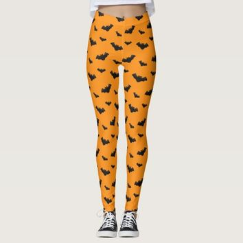 Orange Bats Pattern Leggings
