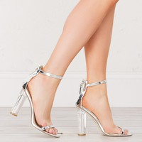 Metallic Heeled Sandals in Silver, Nude and Rose Gold