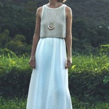 Moth Layered Sandstone Maxi Dress in Cream Size:
