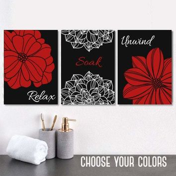 Red Black Flower BATHROOM DECOR, Black Red Bathroom Wall Art Canvas or Print Flower Bathroom Pictures, Relax Soak Unwind Quotes, Set of 3