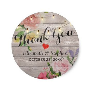 Wood Floral String Lights Wedding Favor Thank You Classic Round Sticker