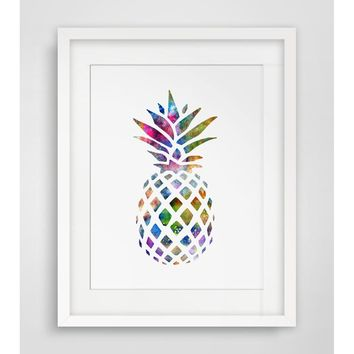 Watercolor Pineapple Art Poster  Wall Art Home Decor Gift Nursery Watercolor Fine Art Paper Ananas Inspiration No Framed