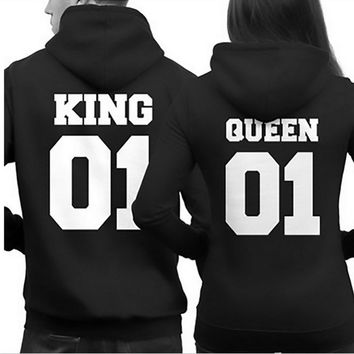 Couple Matching Hoodies King 01 And Queen 01 Back Print Cute Hooded Sweatshirts