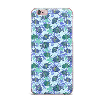 "Julia Grifol ""My Colorful Fishes"" Blue Teal iPhone Case"