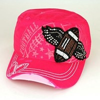 Beaded Football Wings Cap Hat great for Football Mom (Hot Pink)