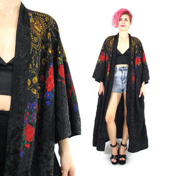 Vintage Floral Black Satin Robe Draped Black Kimono Oversize Long Rose Print Kimono Baroque Long Sleeve Jacket Open Front House Coat (L)