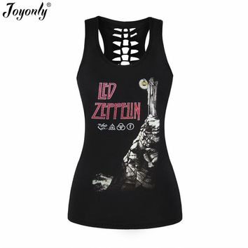 Joyonly Women Sexy Black Tank Top 3D Printed Vest Rock Style Led Zeppelin Camisole Hollow Out O Neck Female Shirts Tank Tops