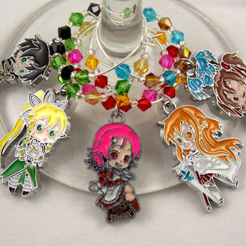 Sword Art Online inspired geeky wine glass charms set of 5 Anime charms handmade wine charms party wine charms