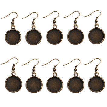 10pc/lot Fit 12mm Glass Cameo Cabochon Earring Hooks Round Pendant Ear Base Tray Bezel Blank Setting Making Findings Diy Jewelry
