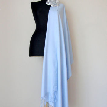 Light Sky BlueShawl, Solid Color Light Blue Pashmina, Cashmere Silk Scarf, Baby Blue Wrap, Bridesmaid Gift, Wedding Shawl, Flower Brooch Pin