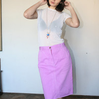 "Purple pink midi skirt Spring colors skirt Every day skirt 90""s (S/M)"
