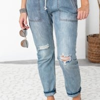 Loose Drawstring Denim Jeans