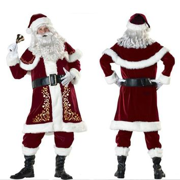 Full Set of Christmas Cosplay Costumes Santa Claus for Adults Red Christmas Clothes Santa Claus Costume Suit with White Beard