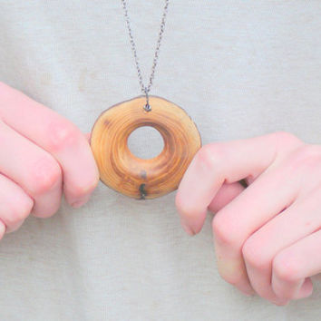 Wooden pendant: wooden necklace, wood upcycled necklace, wood jewelry, natural hippie bohemian boho woodwork, handmade to order