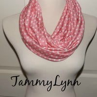 NEW!! Dusty Pink Jersey Rayon Pale Gray Almost White Polka Dots Infinity Scarf Women's  Accessories