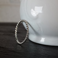 Sterling Silver Twist Rope Ring - Silver Stacking Ring