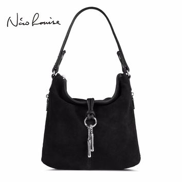 Women Split Leather Shoulder Bag  Suede Cross body handbag Messenger Hobo
