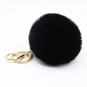 Big faux bunny Rabbit Fur Ball Keychain handBag Ring Plush porte clef Artificial fur PomPom key chain Ornament pom pom Pendant