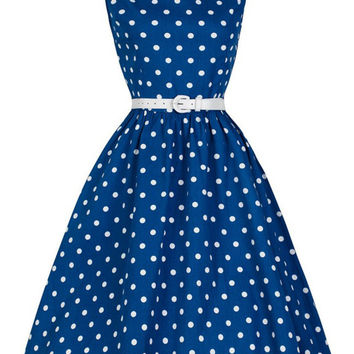 Vintage Polka Dot Sleeveless O Neck Women Dresses