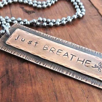 "Yoga Necklace, Just Breathe, Long Copper Necklace, Vertical Bar, Hand Stamped, Quote Jewelry, 30"" Necklace"