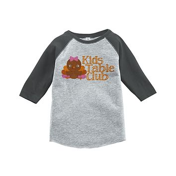 Custom Party Shop Baby Girl's Kid's Table Thanksgiving Grey Raglan
