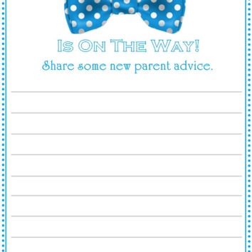 Blue Bow Tie Baby Shower Advice Cards