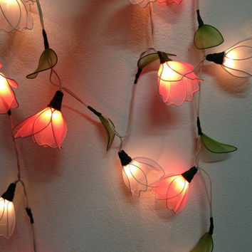 20 Bulbs Purple & Pink Himalayas flower with leaf string lights for Patio,Wedding,Party and Decoration