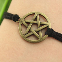 Supernatural inspiration--Pentagram bracelet,antique bronze charm bracelet,black leather bracelet, MORE COLORS