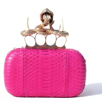 Pink Skull Unicorn Python Clutch Box Purse Collection