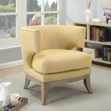 Cloister collection bumblebee yellow chenille fabric upholstered barreled back accent chair with wood legs