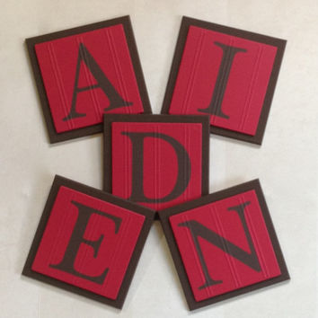 Red and Brown Baby Nursery, Name Wall Letters Room / Wall Decor, 6 x 6 Personalized Wooden Plaques for AIDEN, Custom Children's Gift Ideas