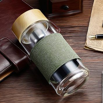 My Water Bottle Tea Infuser Glass Tumbler -  Stainless Steel Filter, Portable Sport Leak Proof Drinking Water For Bottles With Cover