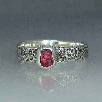 A Womans Engagement Ring Natural Uncut Red Ruby  Silver Jewelry Handmade Ring  Organic Womans Engagement Ring Womans Ring