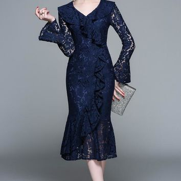 Women Dark Blue Lace Dress New 2019 Spring Autumn Office Lady Sexy V Neck Long Flare Sleeve Ruffles Party Bodycon Mermaid Midi Dress